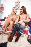 Graceful teen lesbian hotties toying each other's love holes