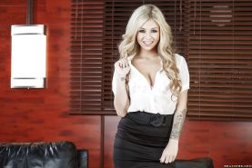 Blonde stunner Madelyn Monroe flashing panties from under business uniform