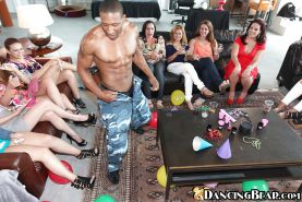 Raunchy party girls having fun with a big black male stripper's cock