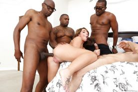 Interracial gangbang leaves Savannah Fox satisfied and cum covered