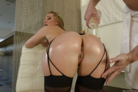 Blonde beauty AJ Applegate having her big ass oiled, fingered and fucked