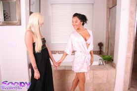 Asian lesbian bitch Asa Akira makes her busty friend cum hard