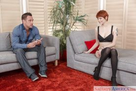 Short haired redhead wife Bree Daniels stripped down to nylons before oral sex
