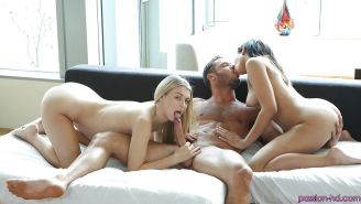 Teens Naomi Kennedy and Natalia Starr are sucking his hard dick