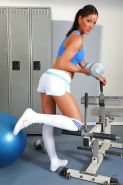 Amazing babe Angel Dark with big tits mixes up sport and exposing