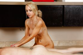 Lesbians Sasha Heart and Alix Lynx eating and tribbing pusses after massage