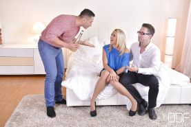European threesome with stocking clad blonde Christen Courtney taking DP