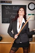 Hot mature teacher Tiffany Mynx stripping off her suit and lingerie