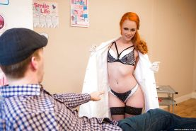 European redhead Ella Hughes shedding uniform before giving blowjob