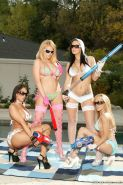 Reality girl Jayden Jaymes sheds bikini for wet poolside deepthroat & groupsex