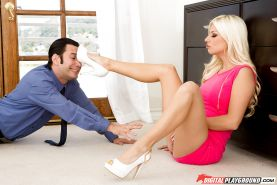 Blonde wife in pink dress Jessie Volt shows off her clam and gets banged
