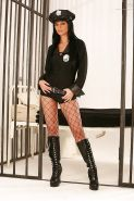 Brunette policewoman Black Angelika modeling fully clothed in uniform