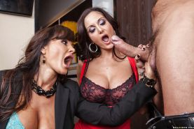 Lisa Ann & Ava Addams have some anal fun with a hard prik and share a cumshot