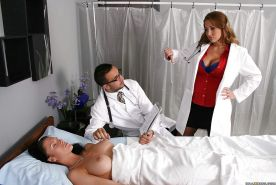 Busty doctor Alanah Rae gets fucked right at her work place