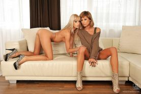 Erica Fontes banging with her lesbian friend Ioana on the sofa