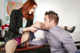 Office redhead with big tits Bree Daniels gets fucked in stockings