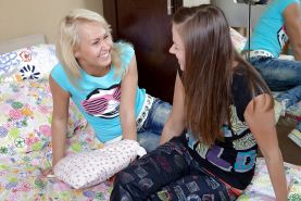 Lesbian teens Sally D & Vikki B licking each other and toying their vags