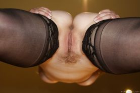 Big busted MILF in stockings Aiden Starr showcasing her sweet pussy
