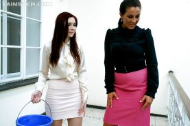Filthy european lesbians make some fervent pissing and pussy toying action