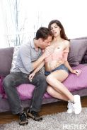 Adorable tiny tits Ava Taylor sucked and fucked softly on couch