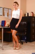 Office babe Abby Cross poses in a sexy lingerie and high heels