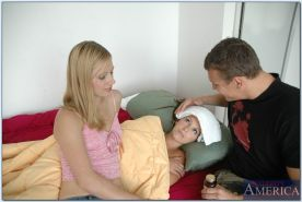 Naughty roommates Courtney Cummz and Mary Anne sharing a bulging dick