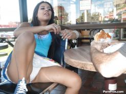 Horny teen Jynx Maze flashes hot panty upskirt and gives oldman handjob