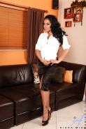 Big busted MILF Kiara Mia stripping and playing with a vibrator
