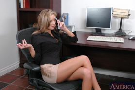 Busty office blonde Amy Ried got her shaved pussy licked and fucked
