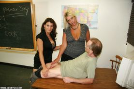 Big busted mature teachers take turns jerking off a fat dick