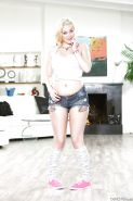 Sexy blonde Jenna Ivory in shorts & socks showing off big ass in the kitchen