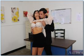Busty slut Romi Rain sucks and fucks her office mate's hard cock