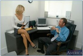 Extremely hot office babe in glasses Katie Morgan fucked hardcore
