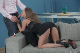 Fully clothed Amirah Adara on knees anal fucking in heels & getting cum in ass