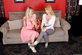 Big titted MILF blondes Taylor Wane & Devon Lee in a hot gangbang