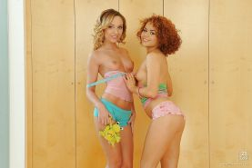 Seductive teen babes Netu & Nataly Von are into hot lesbian action