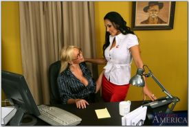 Abbey Brooks gets licked by Nina Mercedez and then fucked in the office