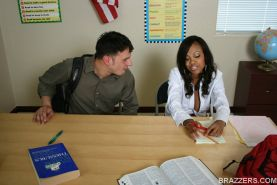 Ebony MILF babe Lacey DuValle gets fucked in a schoolgirl uniform