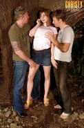 Big boobed slut Christy Marks picks up two guys in woods and sucks their cocks