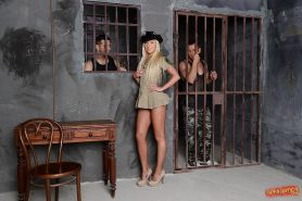 Prison threesome fuck with an superb blonde chick with tiny tits Angie Koks #52690708
