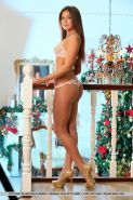 Brunette babe Foxy Salt freeing tiny teen tits from lingerie for glam pics