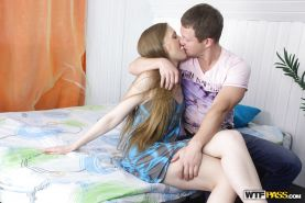 Teen Ginger fucks with her long-dicked boyfriend in the bedroom