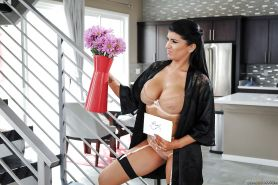 Latina wife Romi Rain caught masturbating by home security guard