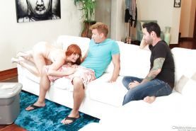 Nude redhead Penny Pax sucking cock & getting DP & cum covered in threesome