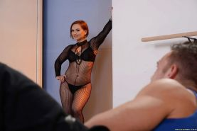Short haired mom Katja Kassin poses in crotchless bodystocking