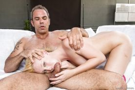 Leggy blonde pornstar Samantha Rone taking doggystyle dick