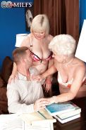 Naughty granny Jewel and her best friend shaved 3some with younger man