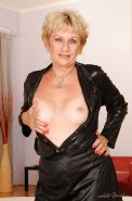 Blonde granny with tiny tits stripping and exposing her fuckable body #51002046