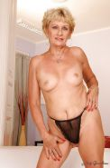 Blonde granny with tiny tits stripping and exposing her fuckable body #51002061
