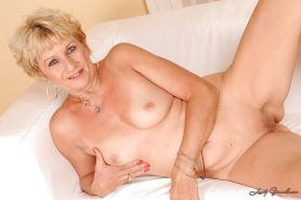 Blonde granny with tiny tits stripping and exposing her fuckable body #51002110